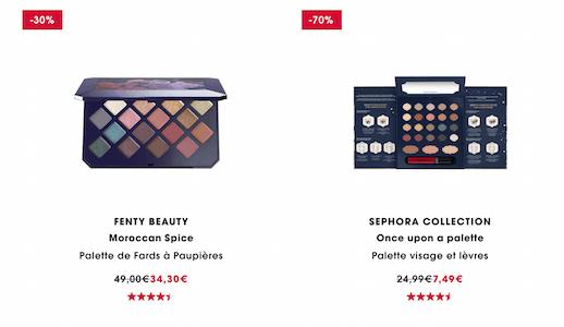 Exemple de palettes soldées dans les rayons de Sephora